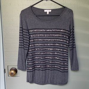 KENAR- size small sparkly gray striped shirt